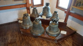 Exhibits of the Lutsk Castle (Lubart Castle), Volyn, Ukraine. Unique exposition of bells.