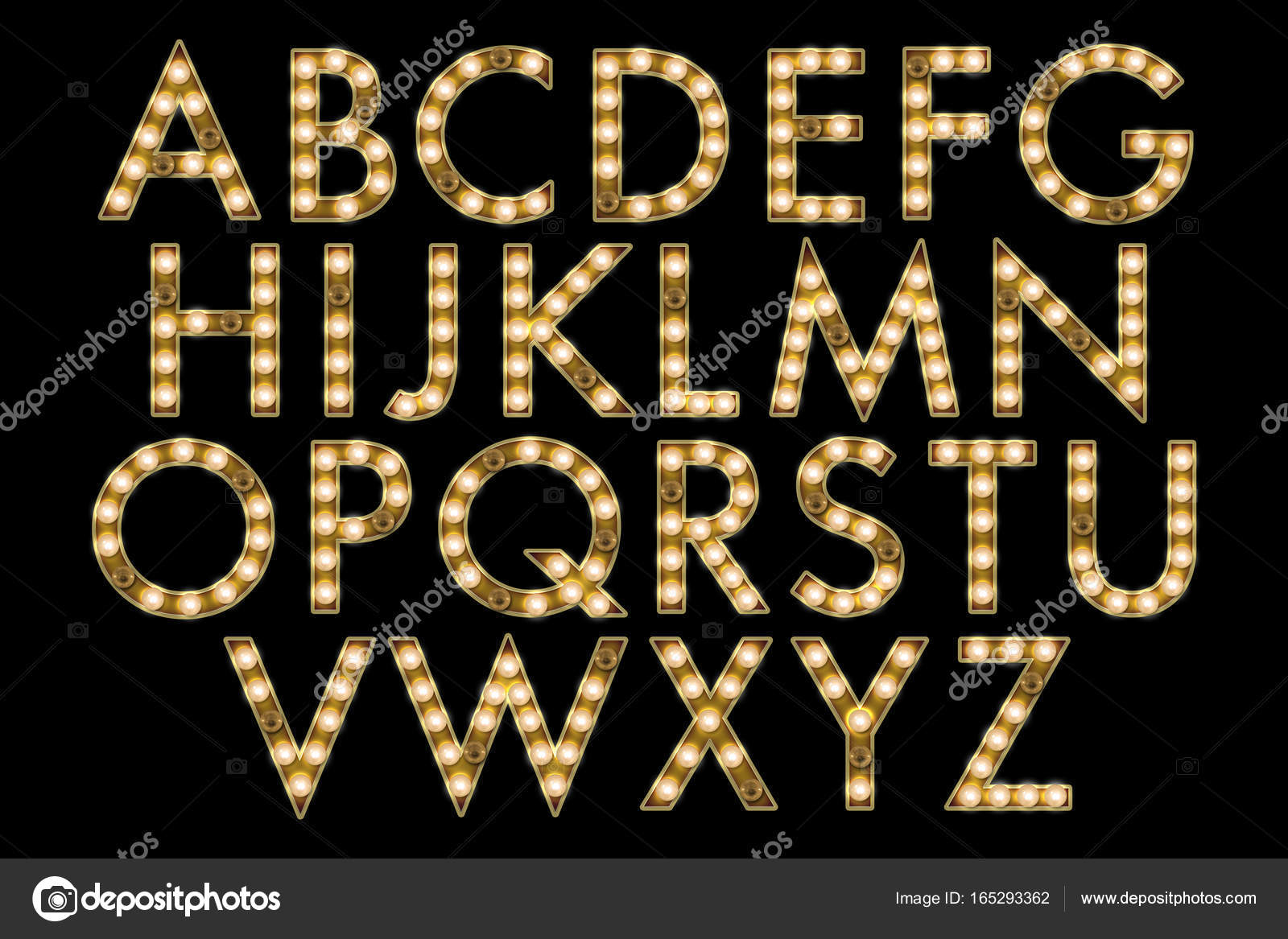 broadway marquee lights alphabet collection letters stock photo