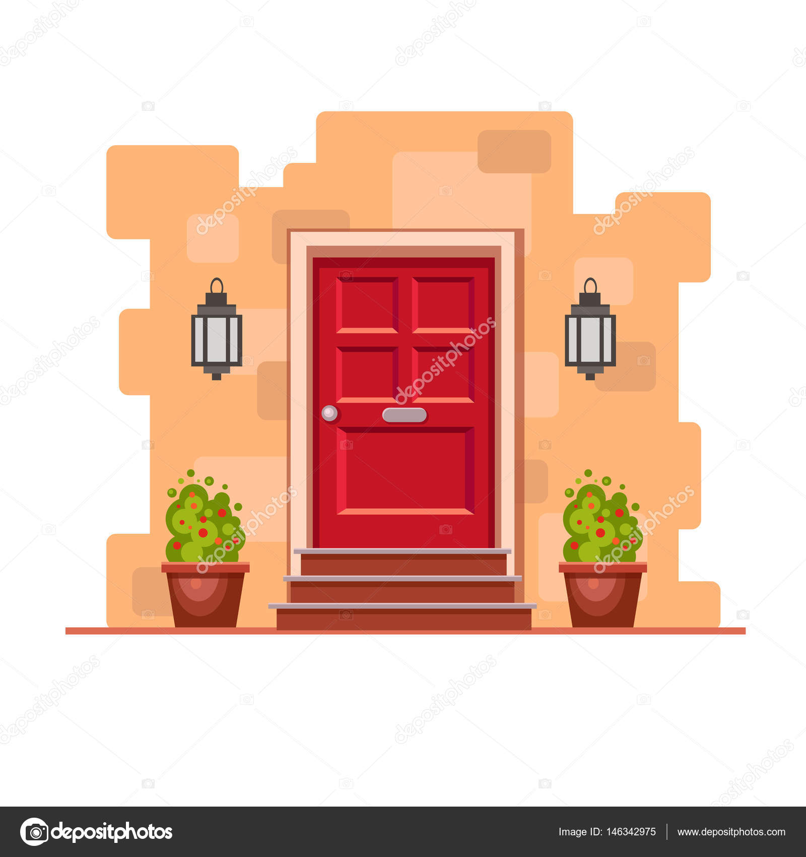 Red Front Door Brick Wall Two Pots Cute Flowers Lights Stock