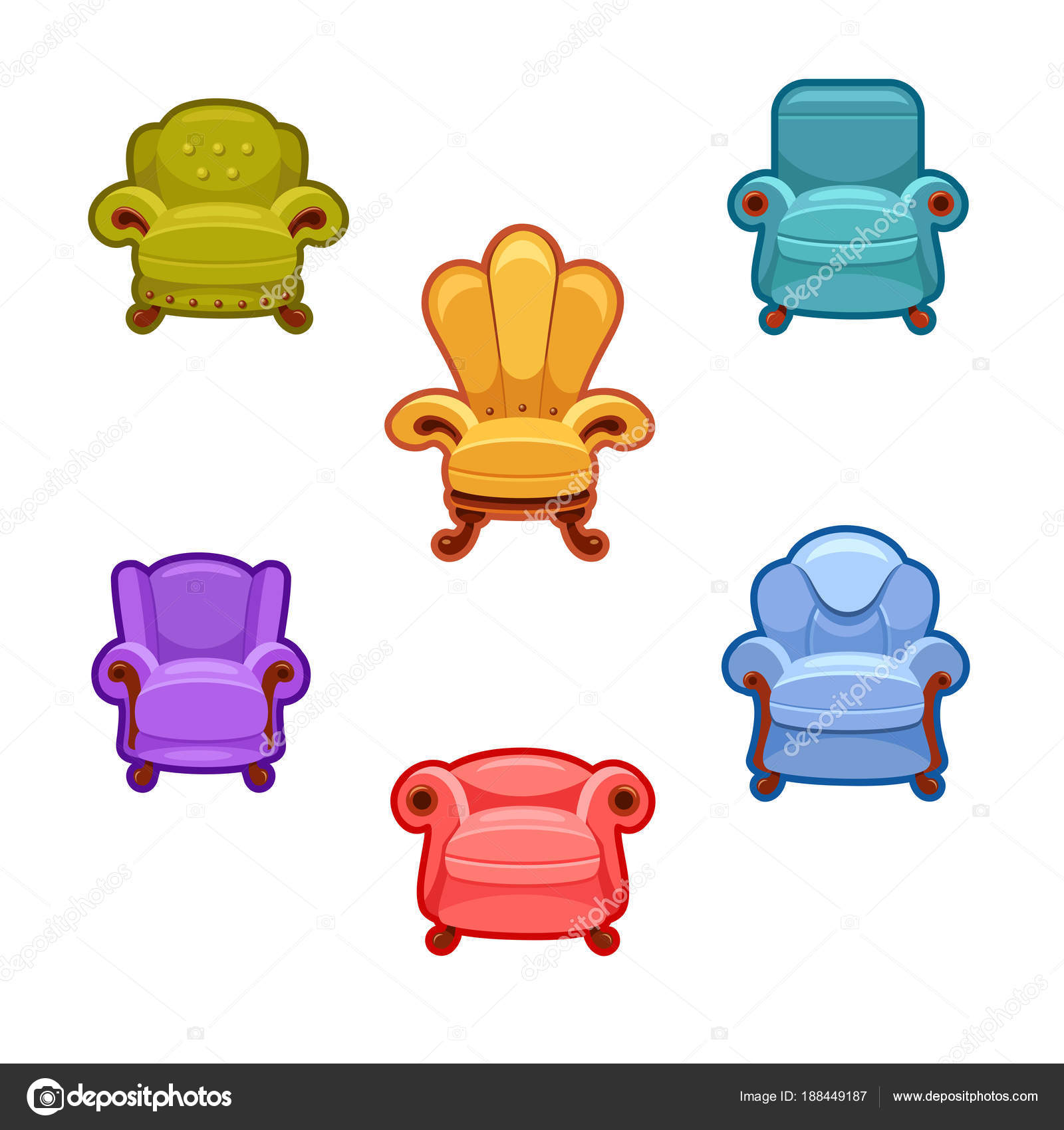 Set Six Bright Vector Armchairs Cartoon Interior Illustration Colorful Cute  U2014 Stock Vector