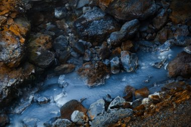 Hot stream at geothermal area in Iceland