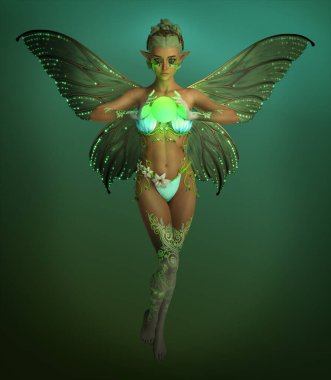 3d computer graphics of a fairy with a  sphere stock vector