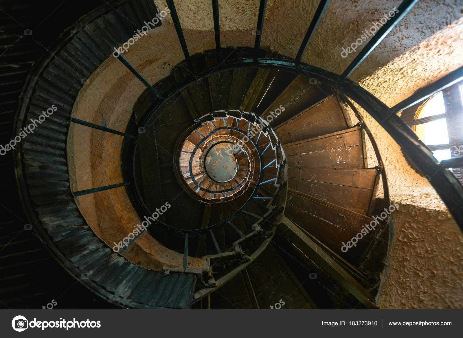 Old Vintage Spiral Staircase Abandoned Mansion House Top View
