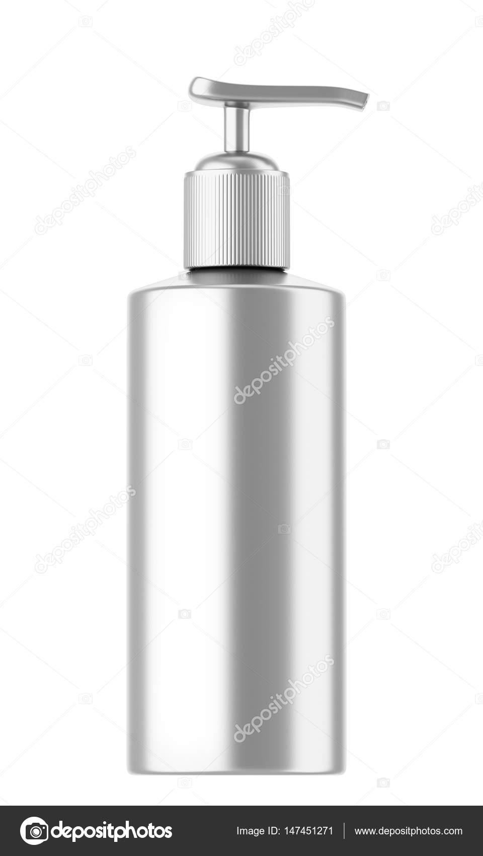 Zaawansowane srebrny plastikowe kosmetyczne Butelki z dozownikiem — Zdjęcie ZL85