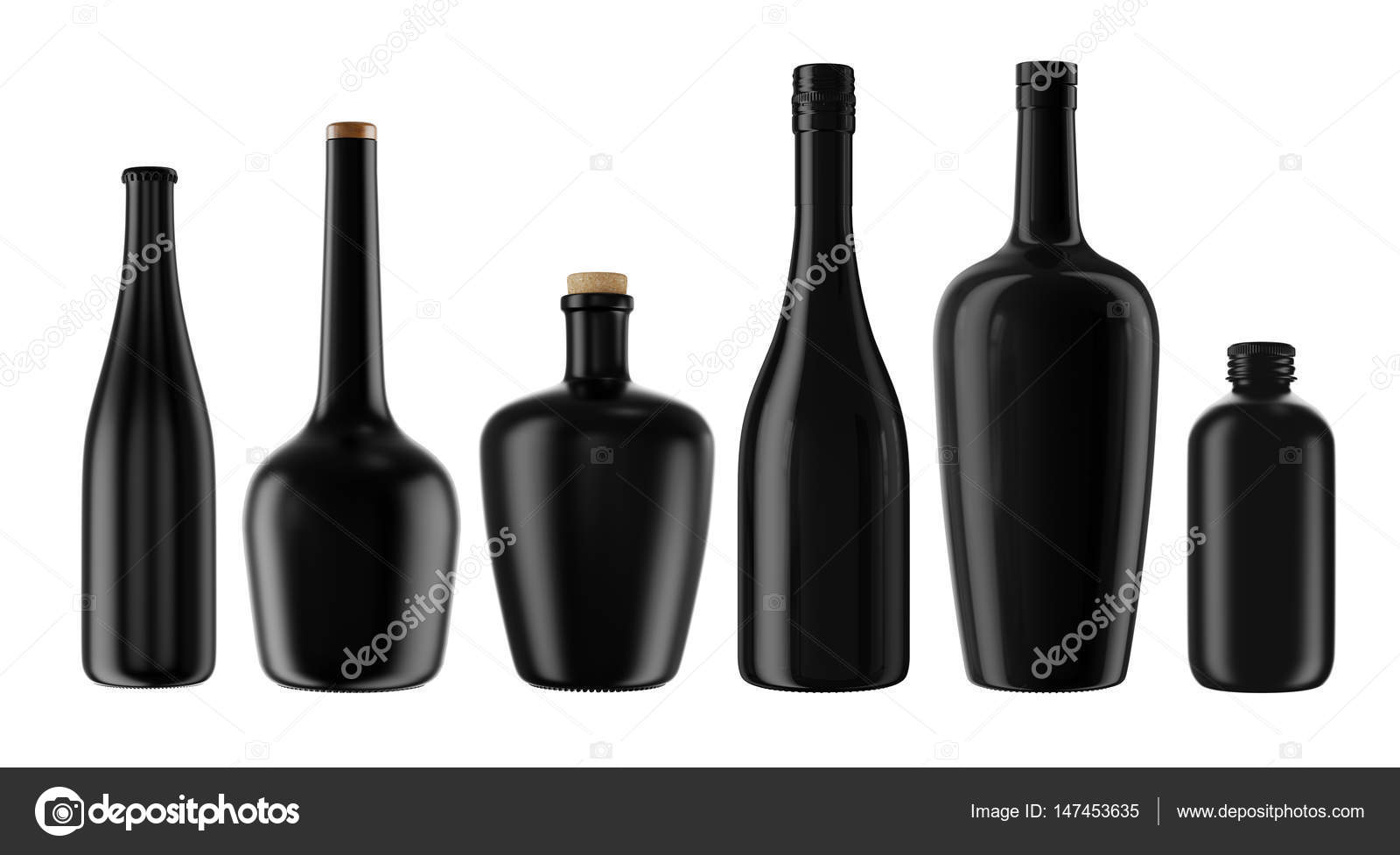 Satz von schwarzen Flaschen für alkoholische Getränke — Stockfoto ...