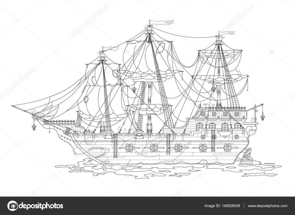 Kleurplaten Piratenschip.Hand Tekening Cartoon Piratenschip Kleurplaat Kleurboek Voor