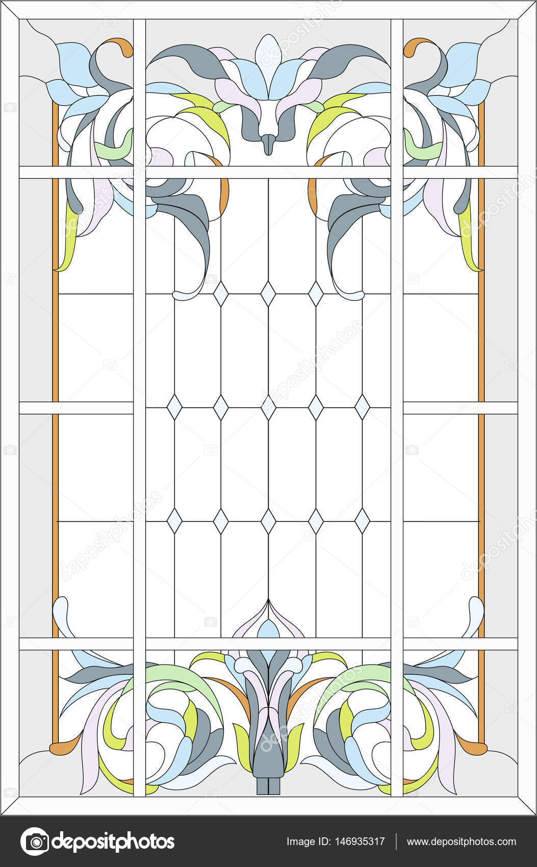 Stained Gl Panel In A Rectangular Frame Abstract Fl Arrangement Of Buds And Leaves