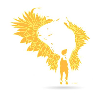 Gabriel keeper. Silhouette of an flame angel, with large expanded wings - on a white background