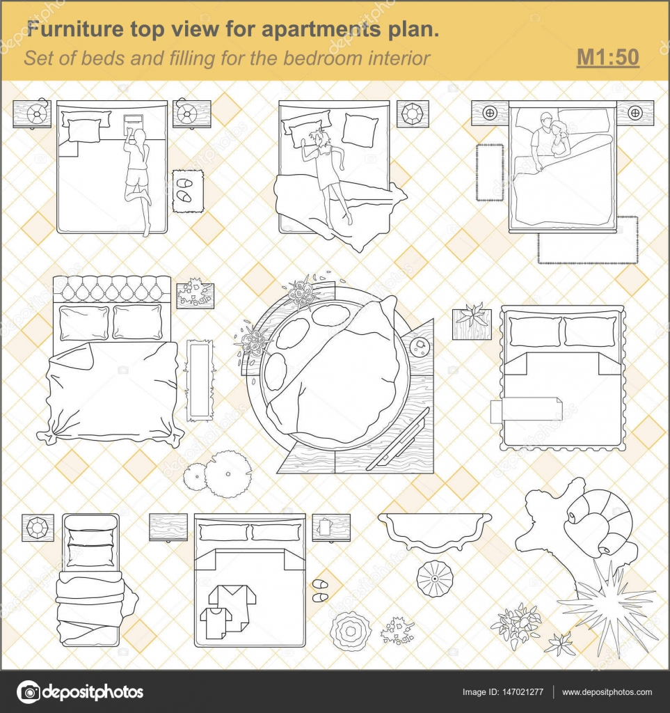 A Set Of Furniture For The Bedroom Top View Stock Vector