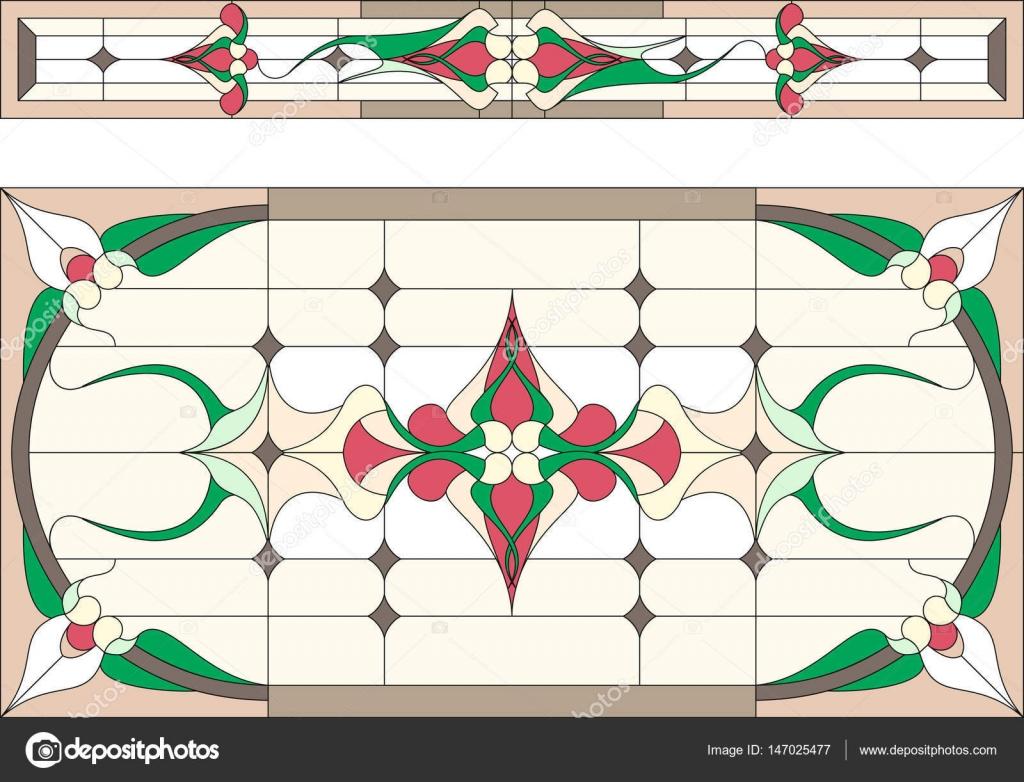 Vidriera en un marco rectangular. Estilo clásico — Archivo Imágenes ...