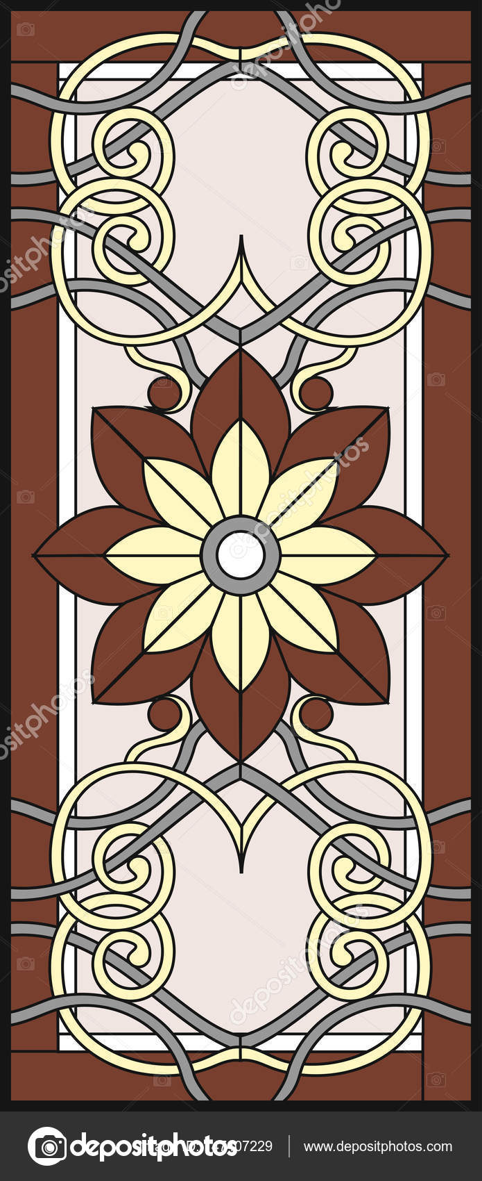 Stock Ilration Stained Gl Window In A Rectangular Frame Flower Arrangements And Ornaments Vector Graphics