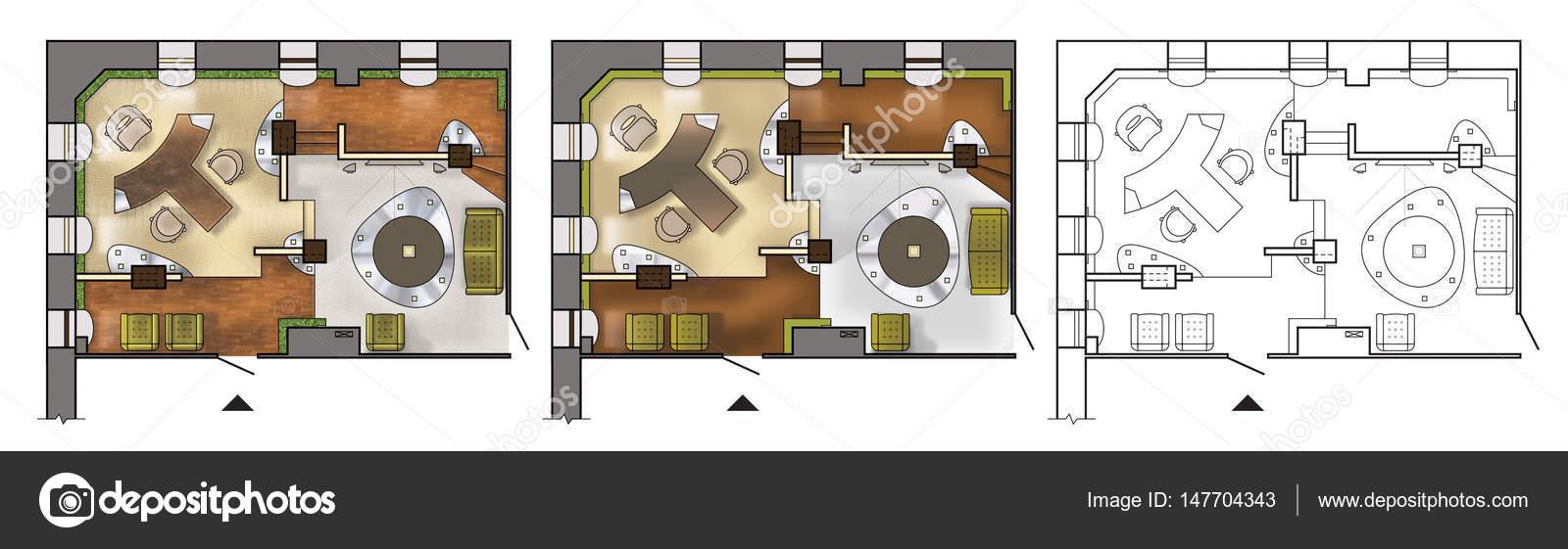 Architectural Color Plan D Tage Int Rieur Travail Cabinet Moderne