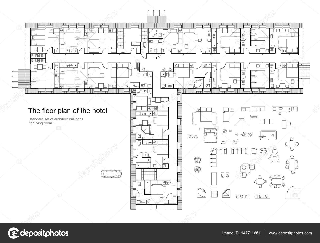 Standard hotel furniture symbols set used in architecture plans ...