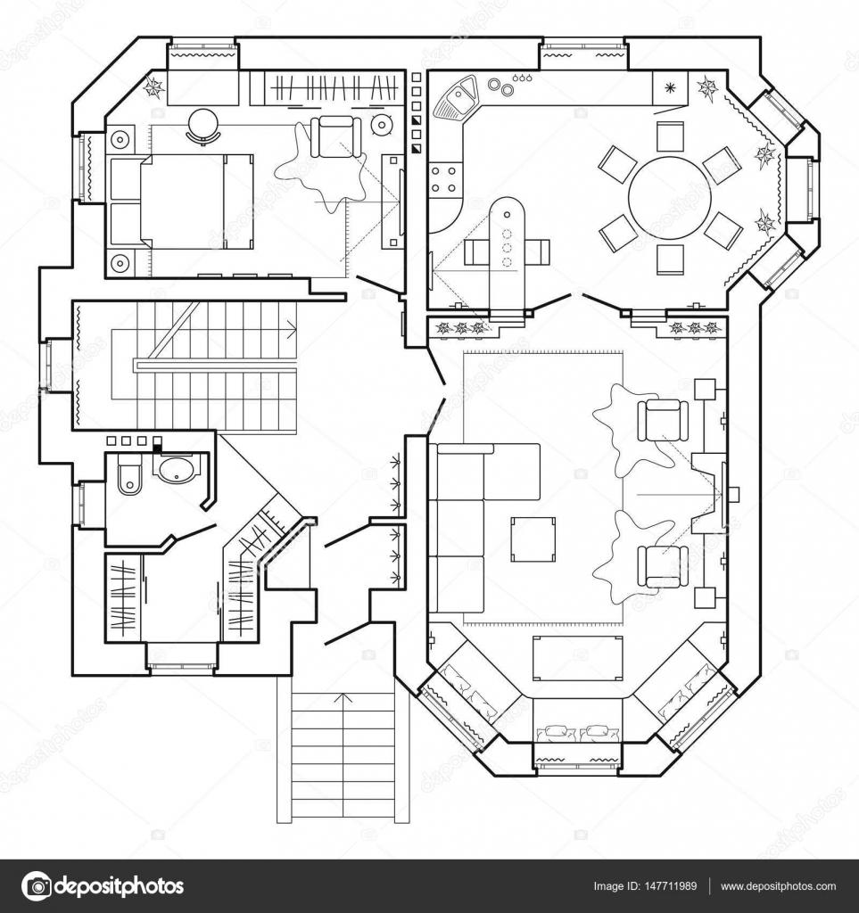 Blanco y negro plan arquitectónico de una casa. Distribución del ...