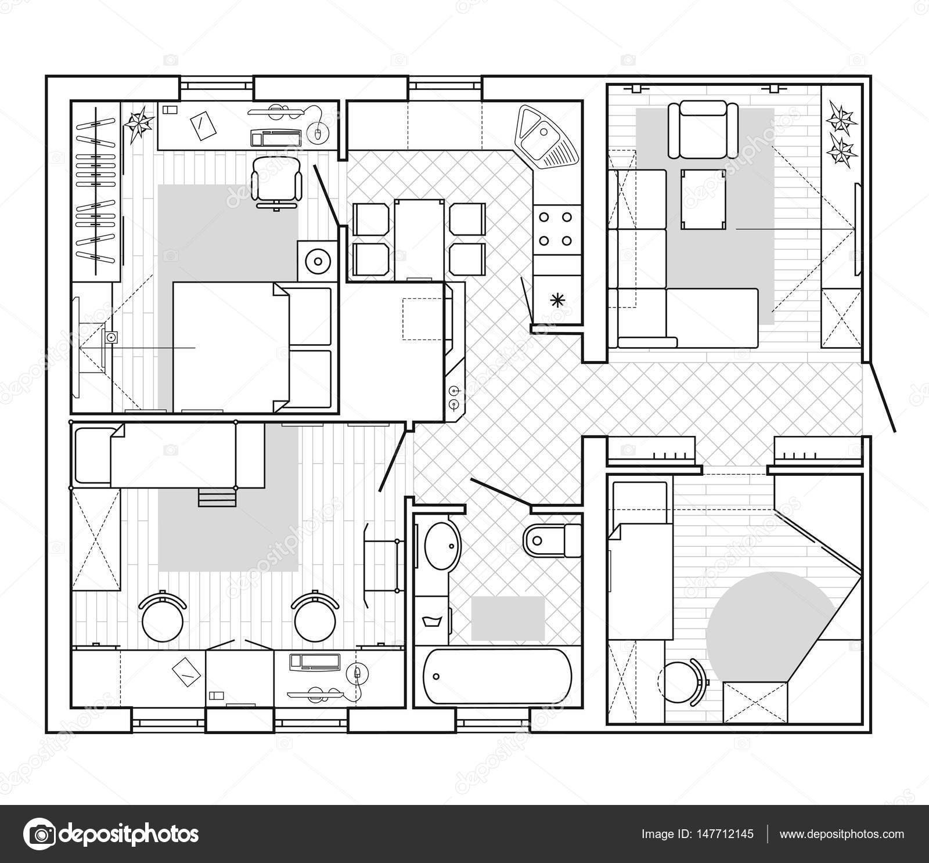 Noir et blanc plan architectural d une maison agencement for Agencement d une maison