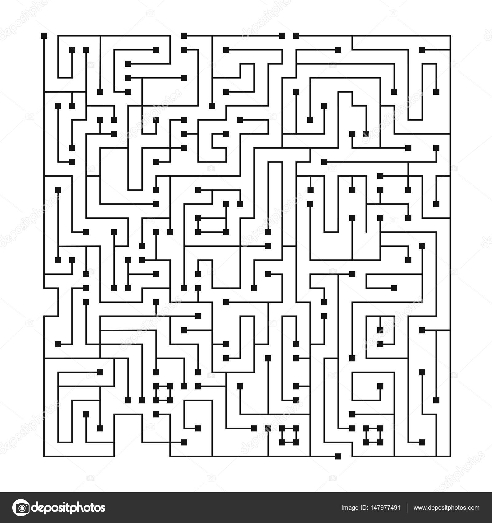 Maze Labyrinth Vector Illustration Complex Maze Puzzle Game High