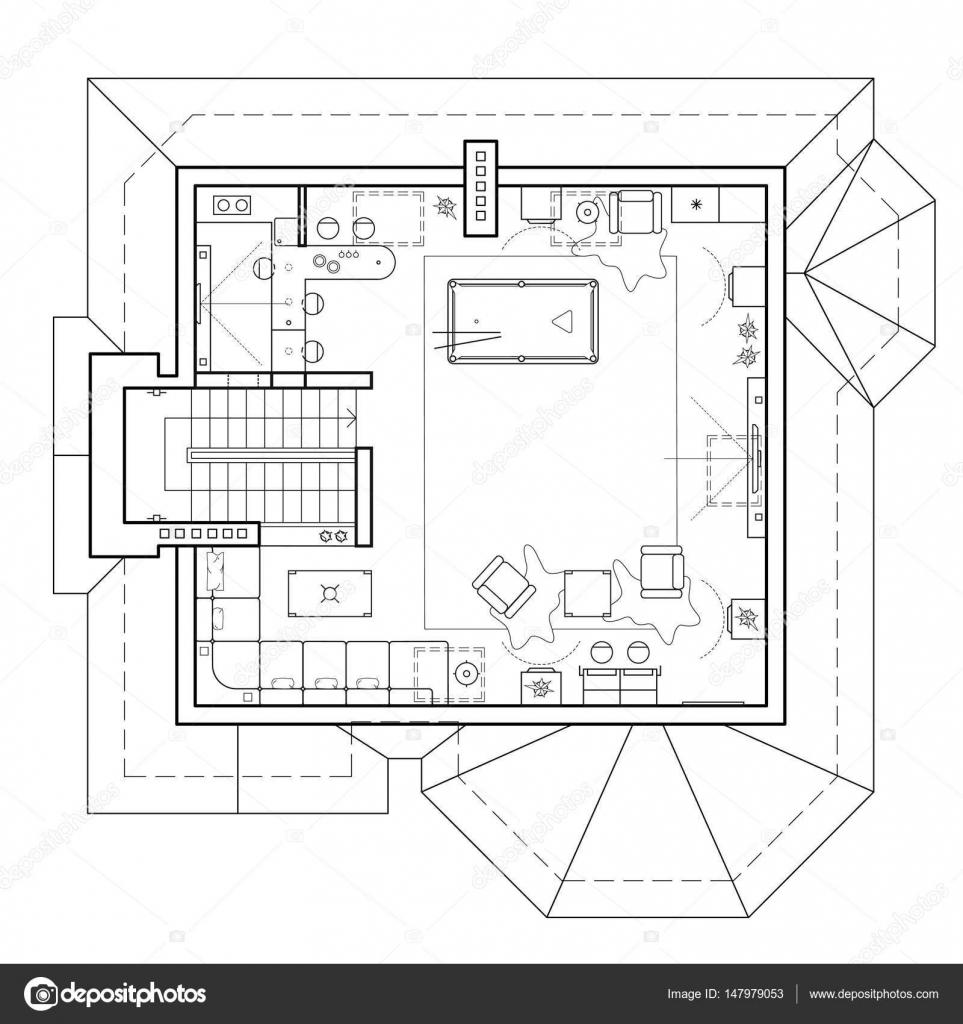 Schwarz / weiß Bauplan eines Hauses. Grundriss der Wohnung mit den ...