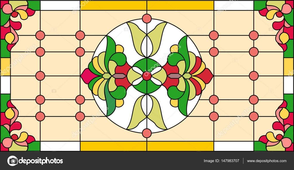 Patrón floral geométrico abstracto en un marco rectangular ...