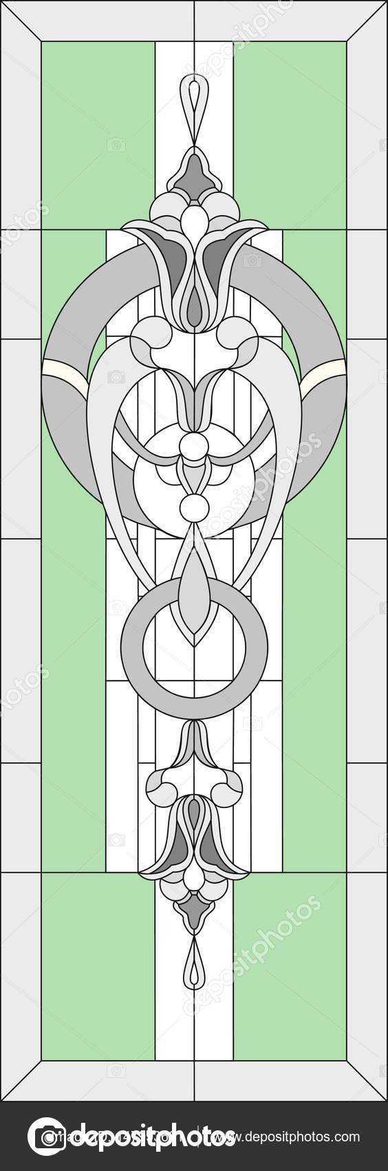 Vidrieras con motivos geométricos de flores estilizadas. En un marco ...