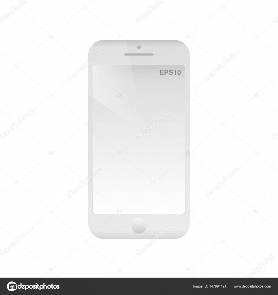 White frame mobile phone with empty screen. Isolated smartphone icon ...