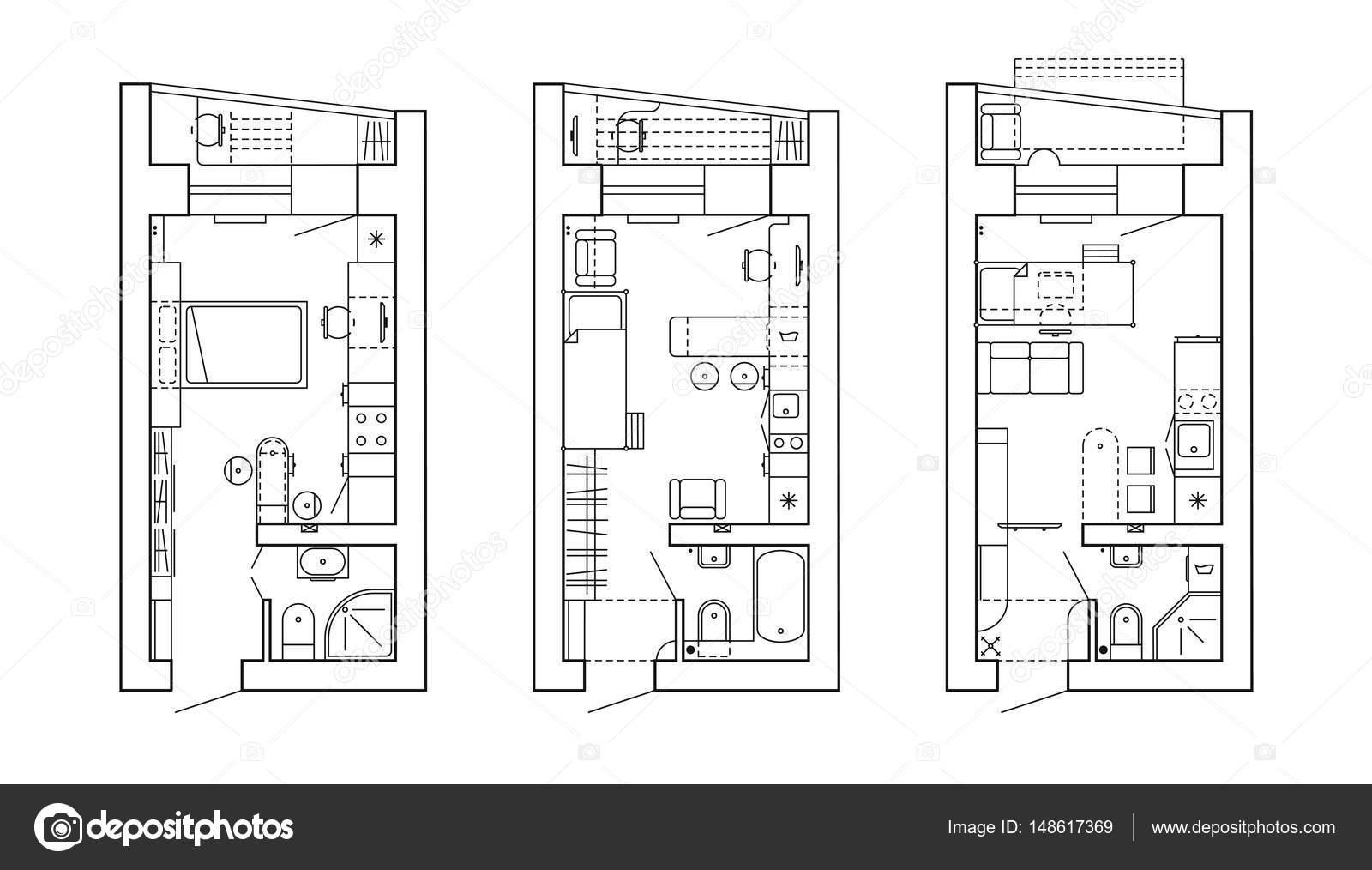 Architectonische plan van een huis. Indeling van het appartement met ...