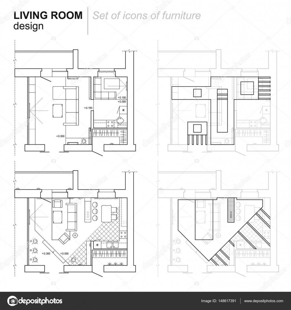 Architectural Drawing Set the architectural plan. the layout of the apartment with the
