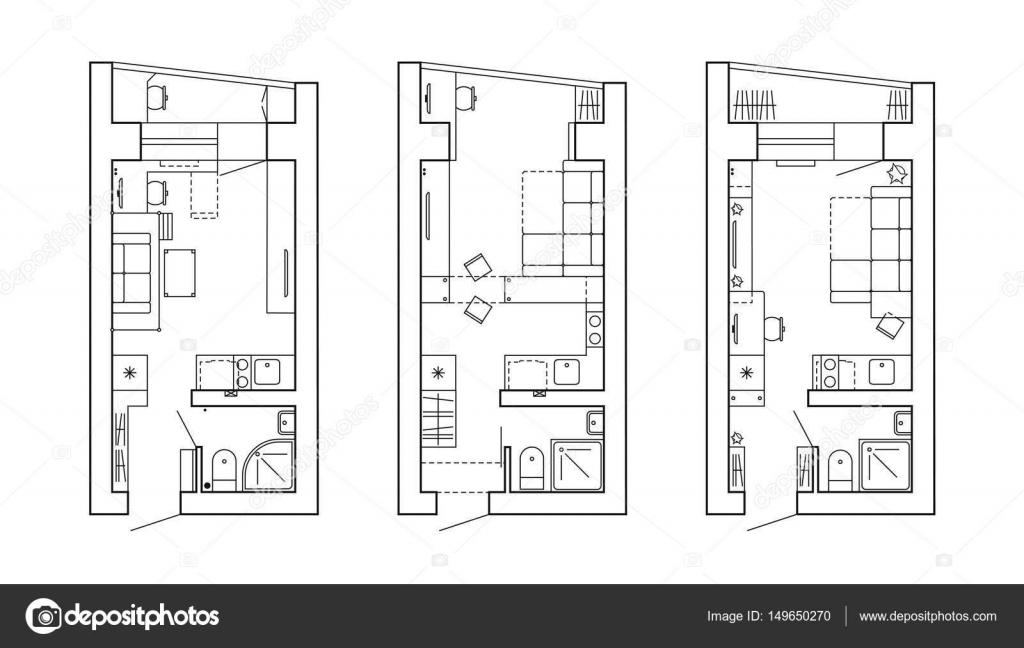 Bauplan eines Hauses. Grundriss der Wohnung mit den Möbeln in der ...