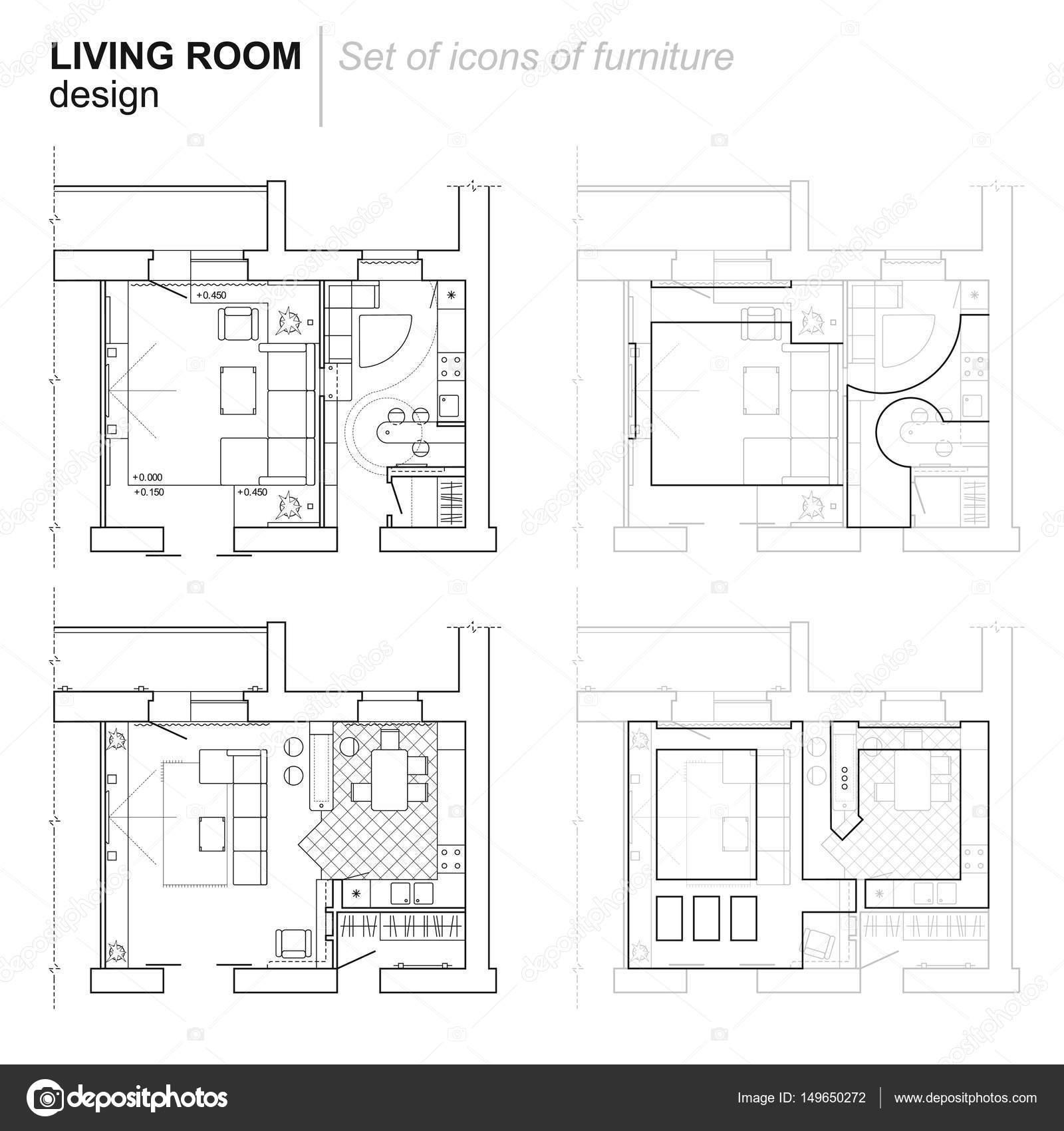 El Plan Arquitect Nico El Dise O Del Apartamento Con Los Muebles  # Muebles Dibujo Arquitectonico