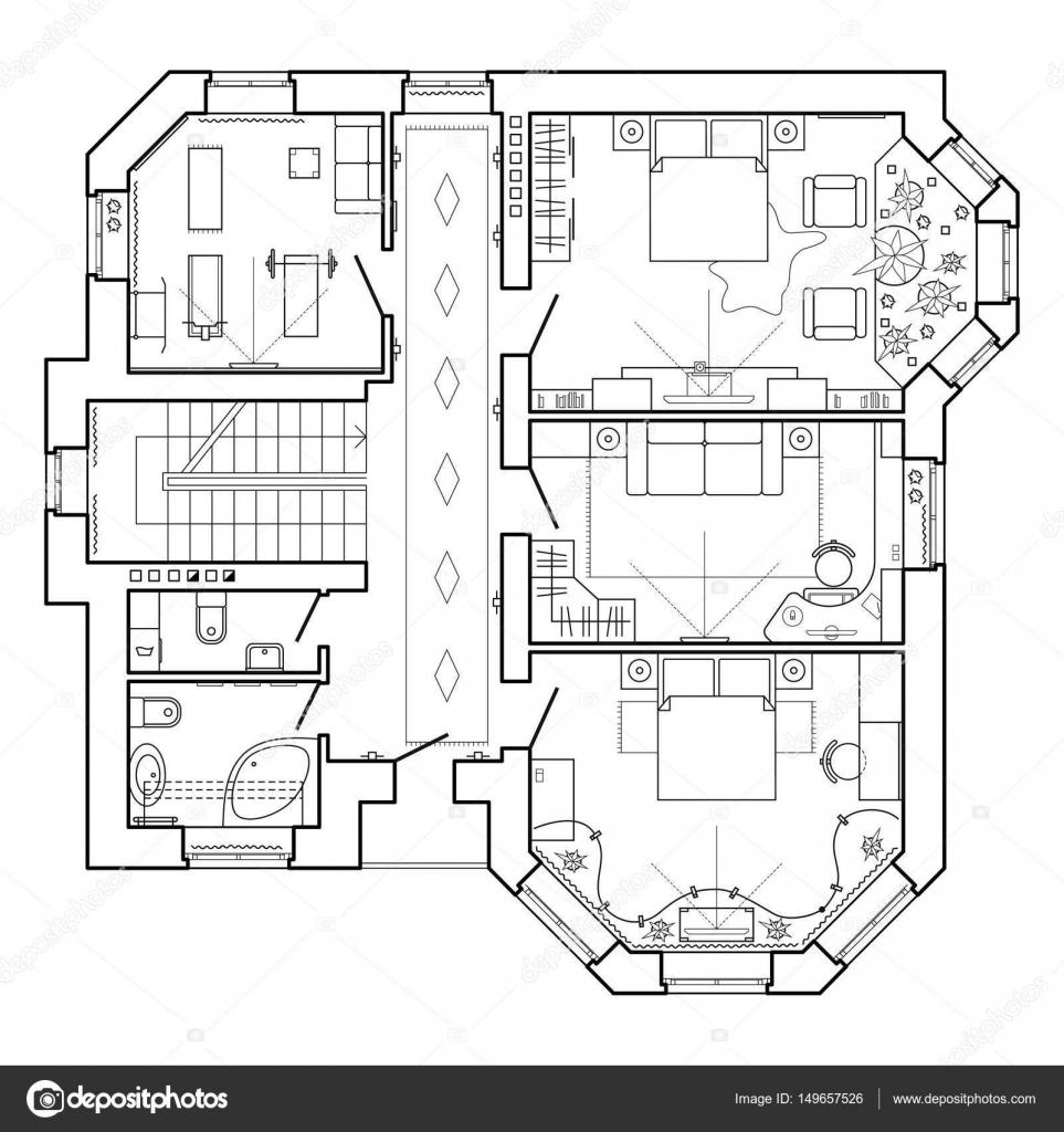 Cerna A Bila Architektonicky Plan Domu Dispozice Bytu S Nabytkem V