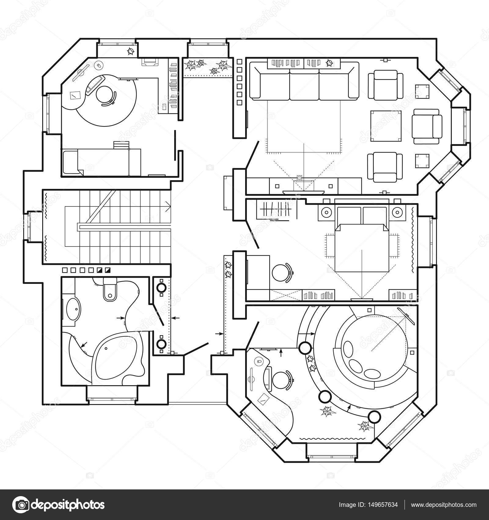 Bianco e nero piano architettonico di una casa. Planimetria dell ...