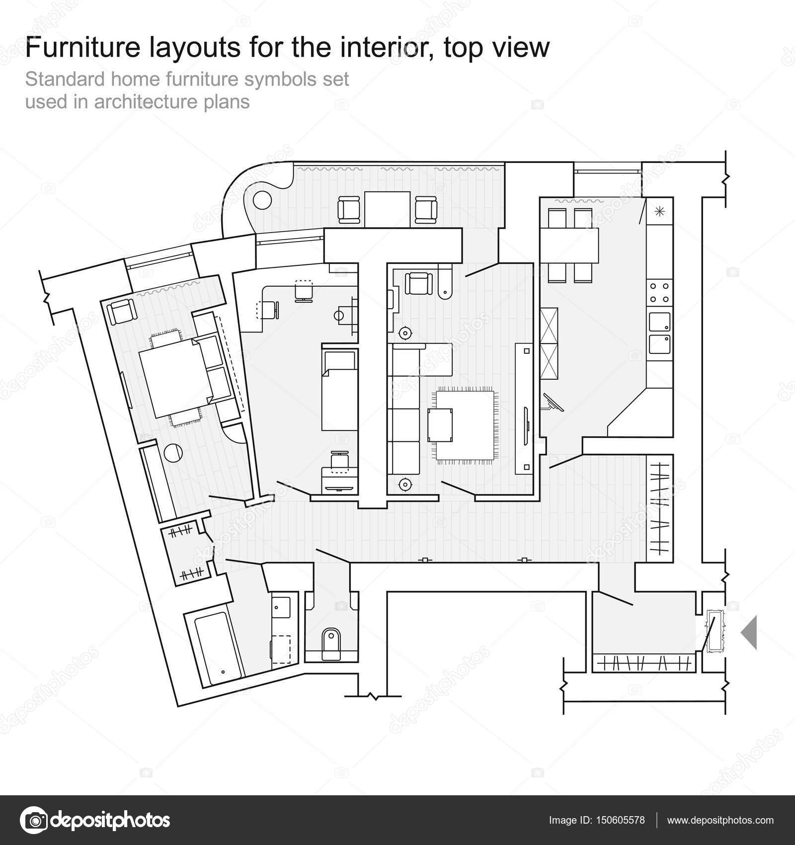 Meubles De Maison Standard Des Symboles Utilisés Dans Les Plans Du0027 Architecture, Maison Planification Jeu Du0027icônes, éléments De Conception  Graphique.