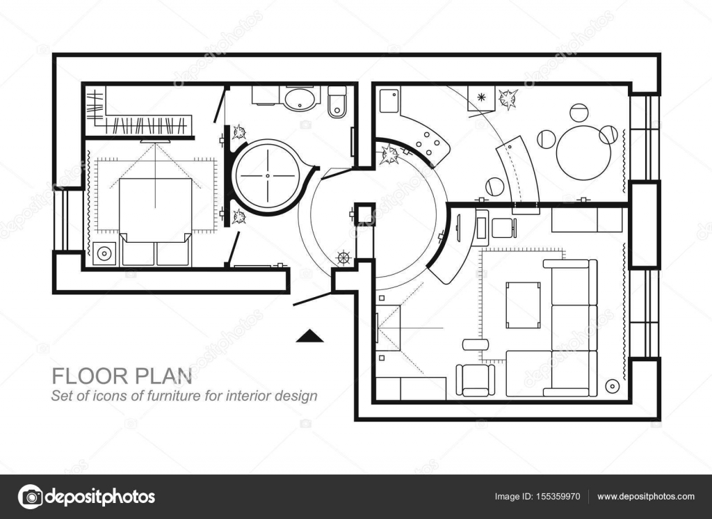Architecture Plan With Furniture House Floor Plan Kitchen Lounge And Bathroom Thin Line Icons Set For Plan Interior Design Top View Stock Vector C Parmenow 155359970