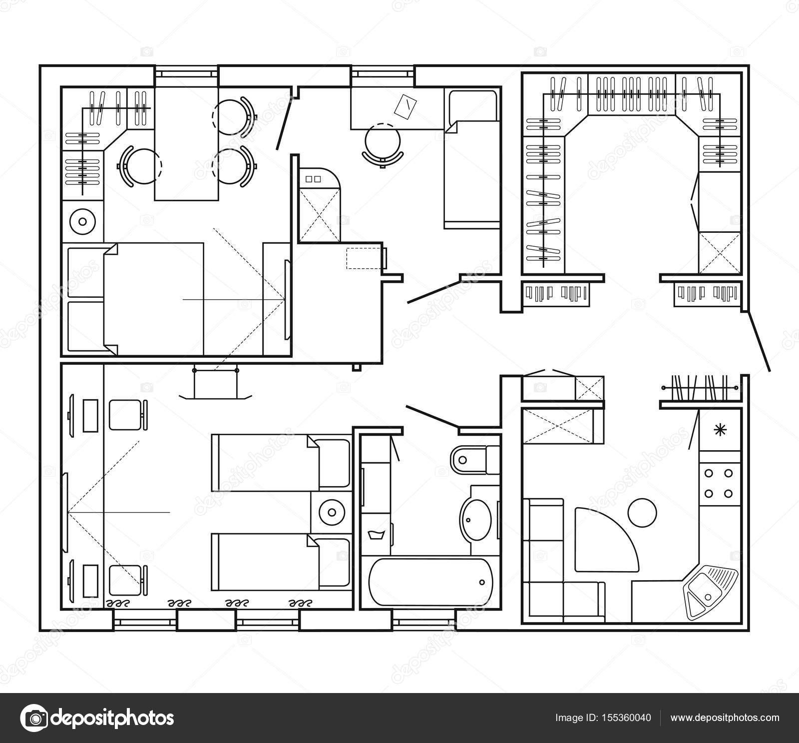 indeling van het appartement met de meubels in de tekening weergeven keuken en badkamer woonkamer en slaapkamer grafisch ontwerpelementen vector van