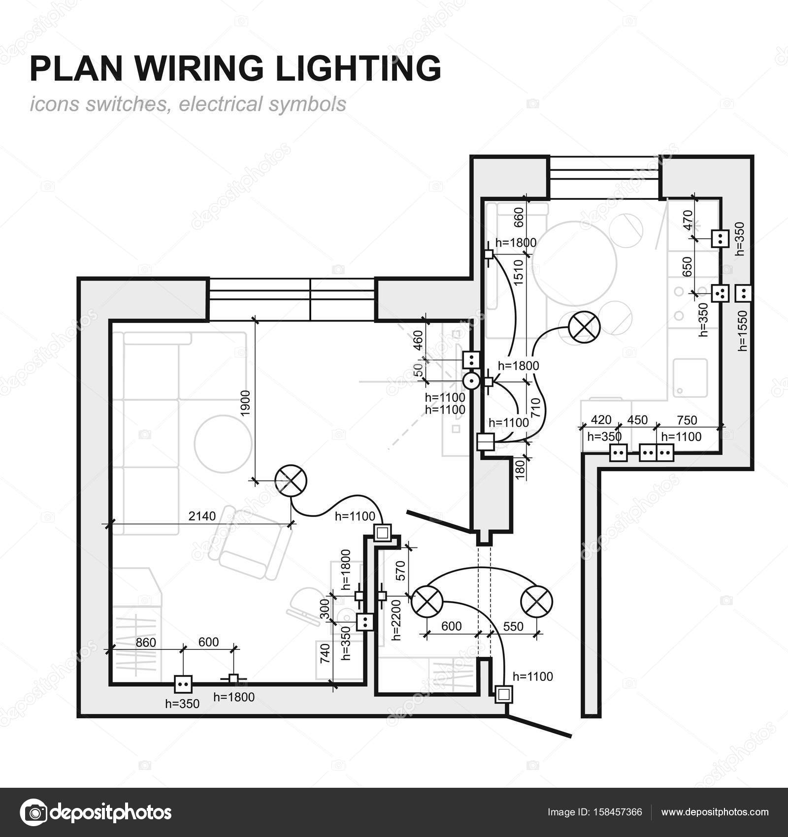 Plan wiring lighting electrical schematic interior set of standard electrical schematic interior set of standard icons switches electrical symbols for blueprint vector by parmenow malvernweather Choice Image