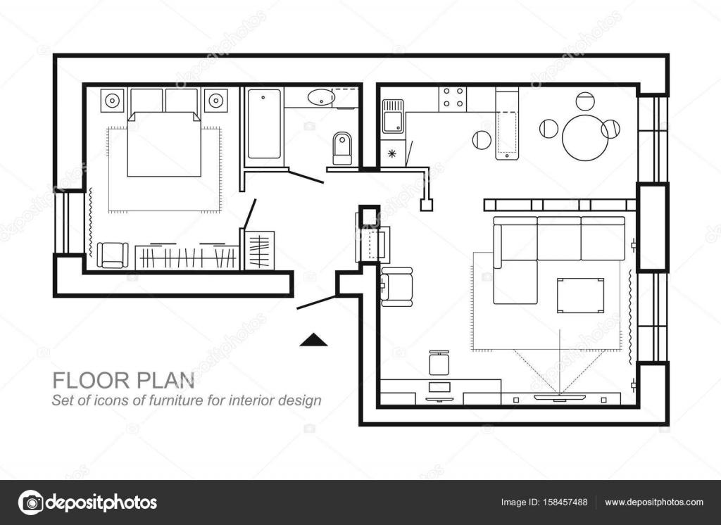 Plano arquitectónico de una casa. Diseño de la vista superior del ...