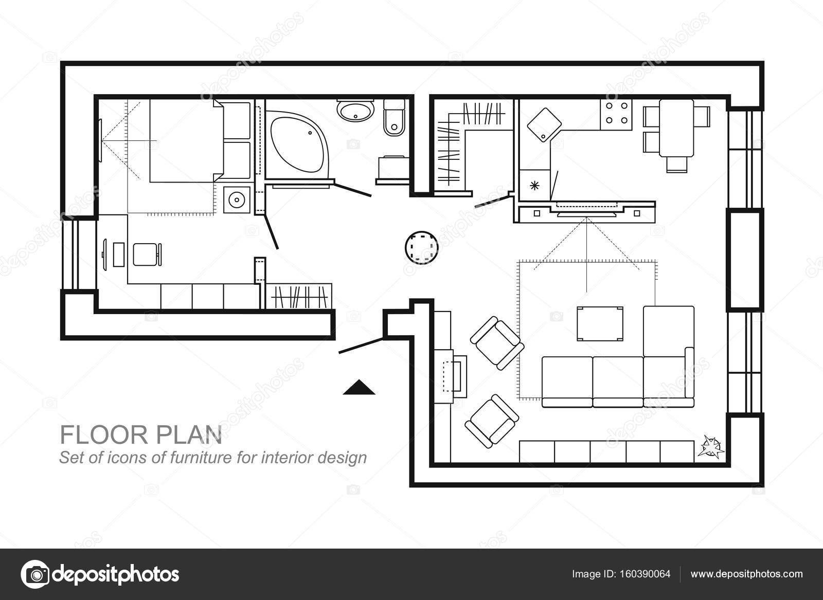 outline vector of simple furniture plan floor plan symbol as
