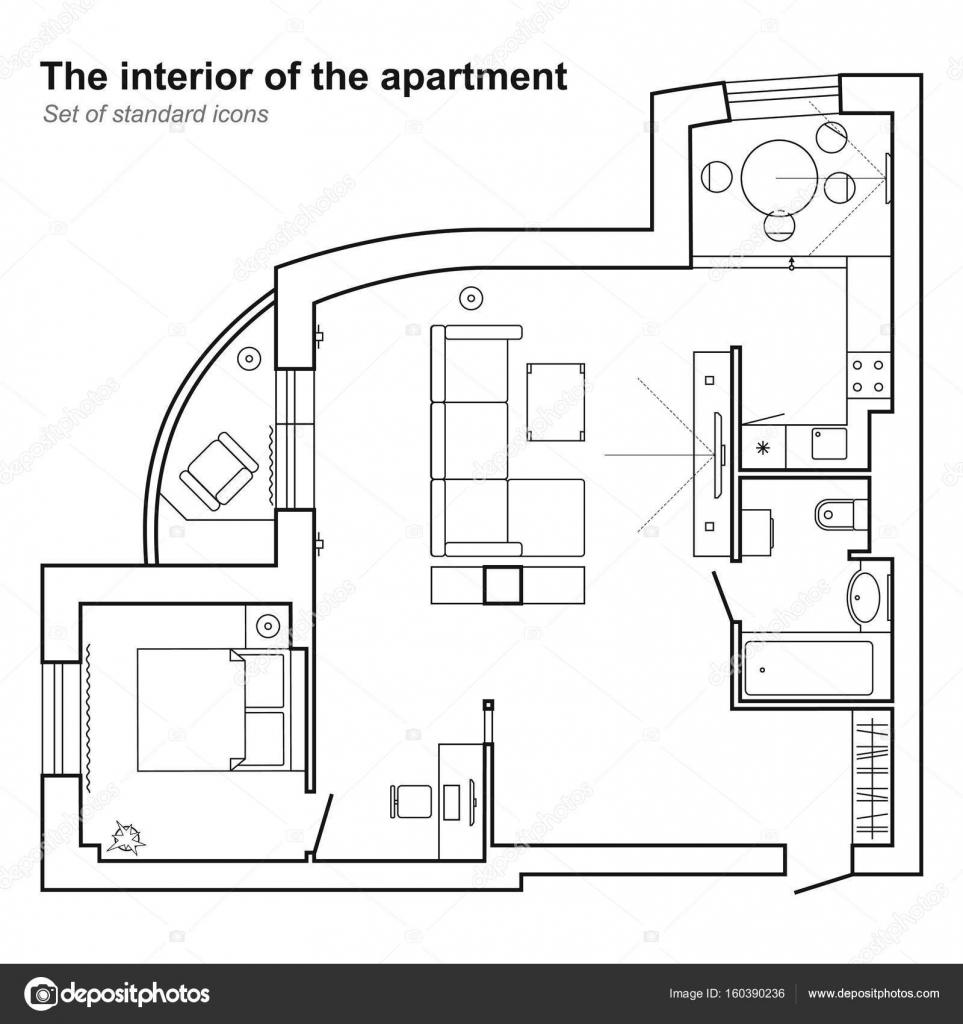 Bauplan eines Hauses in der Draufsicht. Grundriss mit Möbeln ...