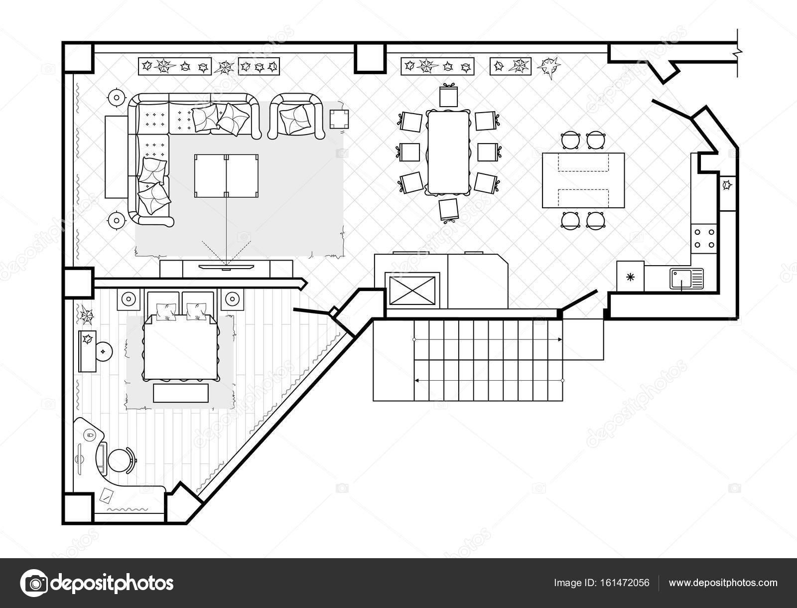 grundriss, ansicht von oben. die innenarchitektur-terrasse. das haus