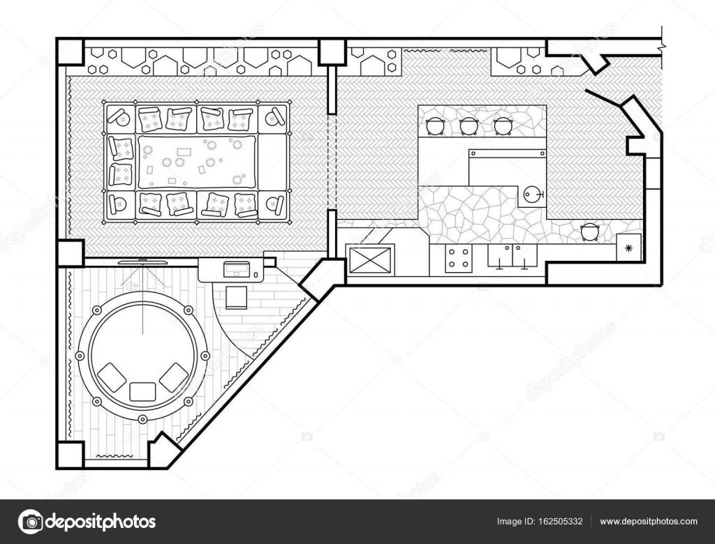 Grundriss Ansicht Von Oben Die Innenarchitektur Terrasse Das Haus Ist Eine Uberdachte Veranda Der Wohnung Mit Den Mobeln Vektor Parmenow