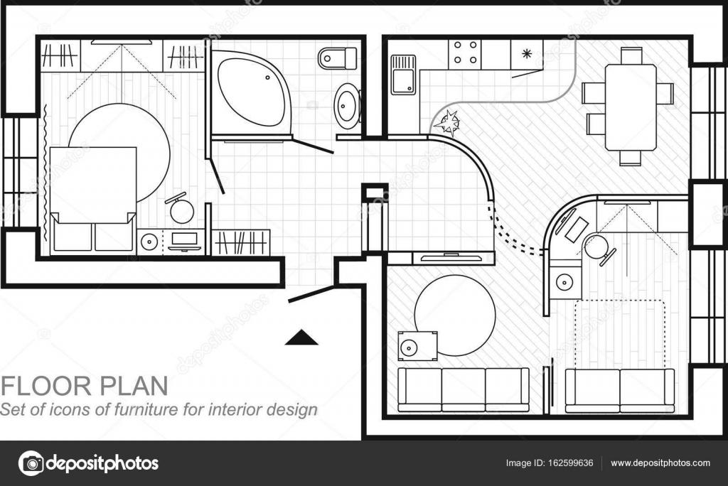 architectonische plan van een huis lay out van het bovenaanzicht van appartement met de meubels. Black Bedroom Furniture Sets. Home Design Ideas