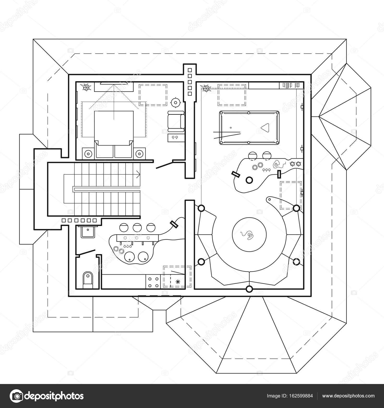 Piano attico nel cottage. Programma architettonico di una casa ...