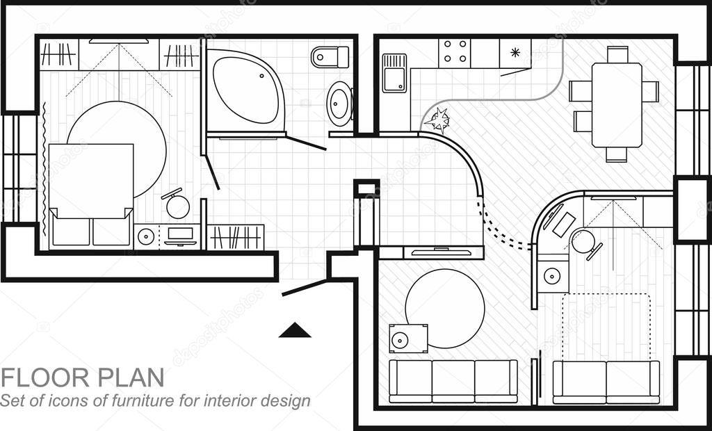 Plan Architectural D'une Maison. Mise En Page De La Vue De