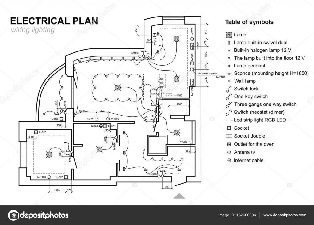 Verdrahtung Beleuchtung zu planen. Elektrischer Schaltplan Interieur ...