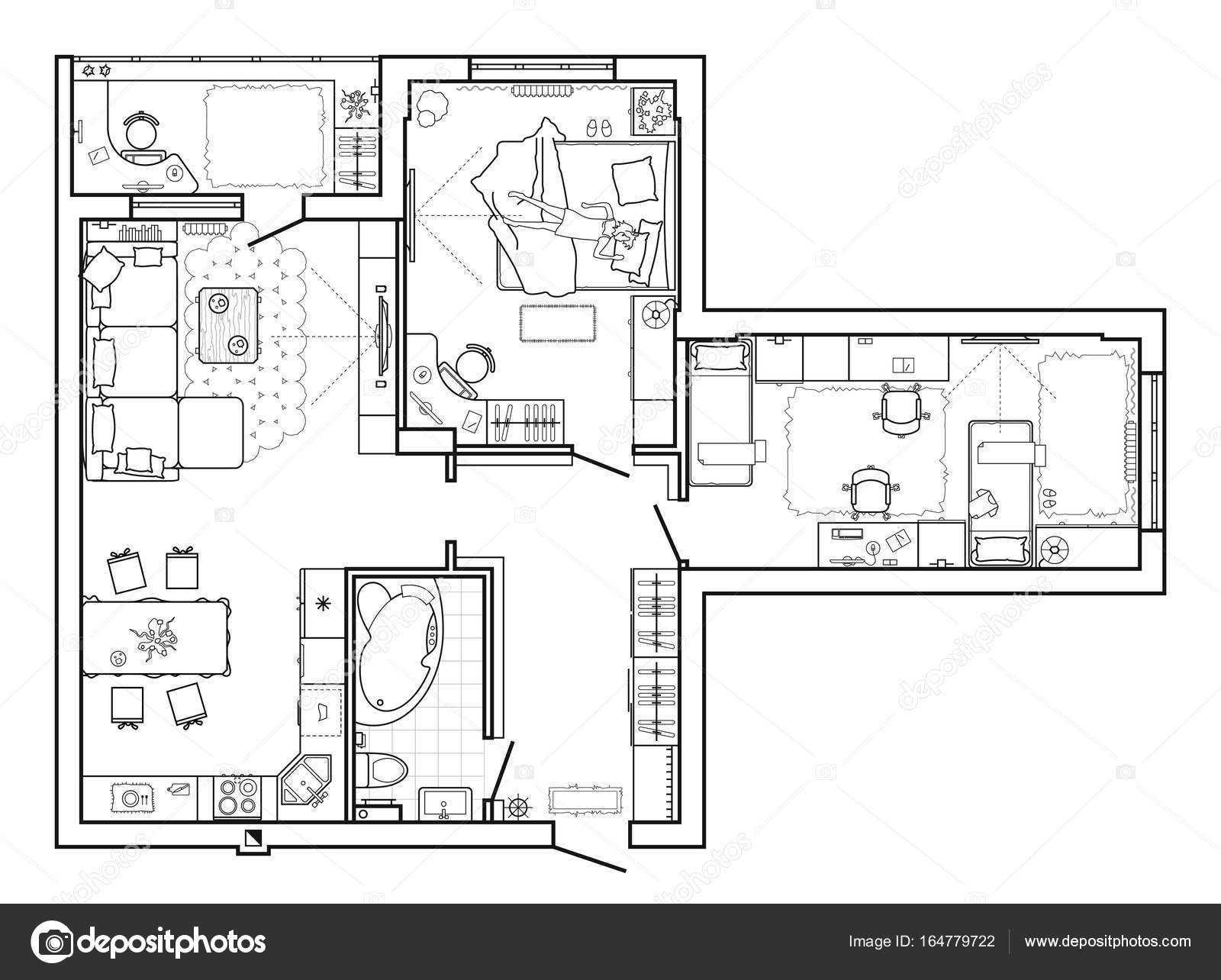 Floor plan with furniture in top view architectural set of floor plan with furniture in top view architectural set of furniture thin line icons detailed layout of the modern apartment vector by parmenow malvernweather Choice Image