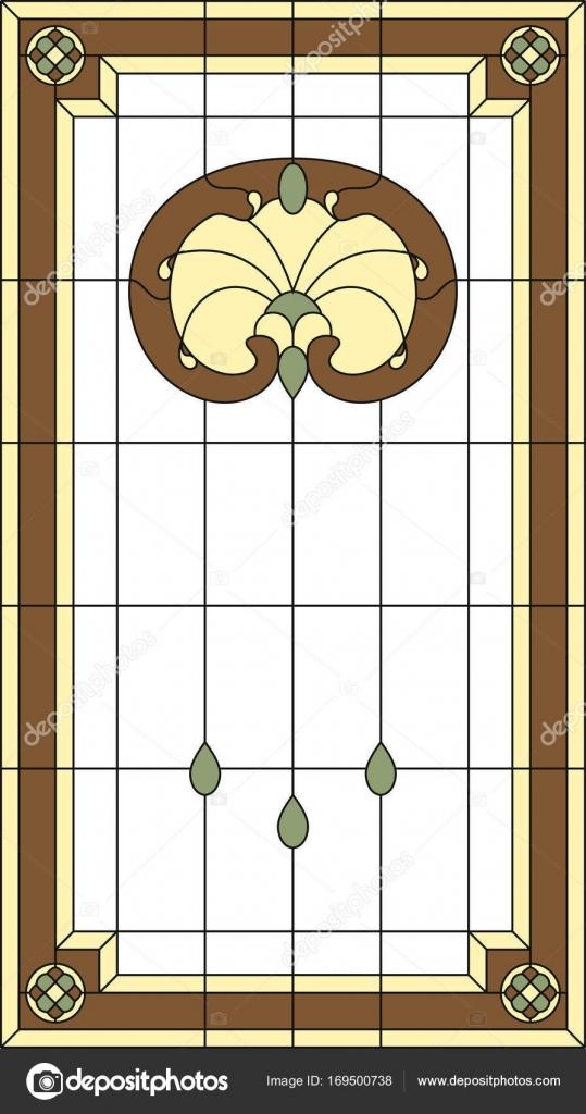 Panel de cristal manchado en un marco rectangular. Ventana clásica ...