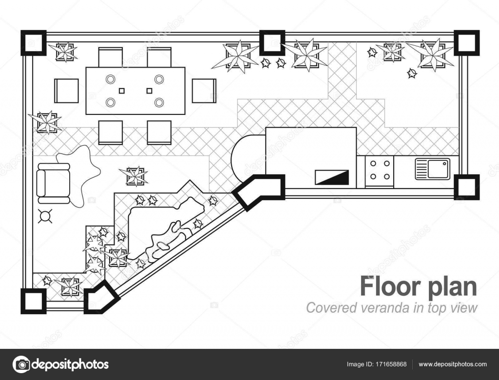 Floor plan top view the interior design project of terrace the the interior design project of terrace the cottage is a covered verandayout of the apartment with the furniture icons architecture blueprint malvernweather Choice Image