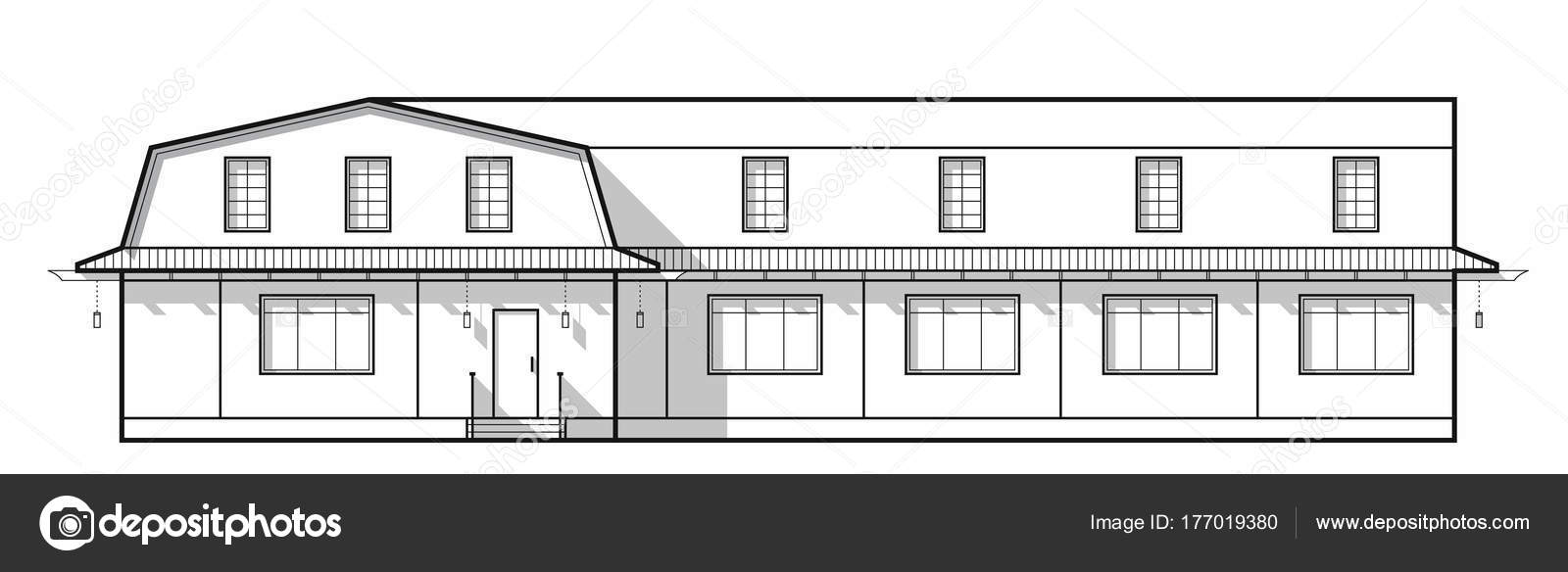 Building Small Hotels Front House Front View Thin Line Style — Stock on house construction, house layout design, house template, house model design, house drawing, house painting design, house art design, house design blueprint, house perspective design, house autocad, house architecture design, house graphic design, house light design, house green design, sketchup house design, green building design, house studio design, product page design, house study design, house plans with furniture layouts,