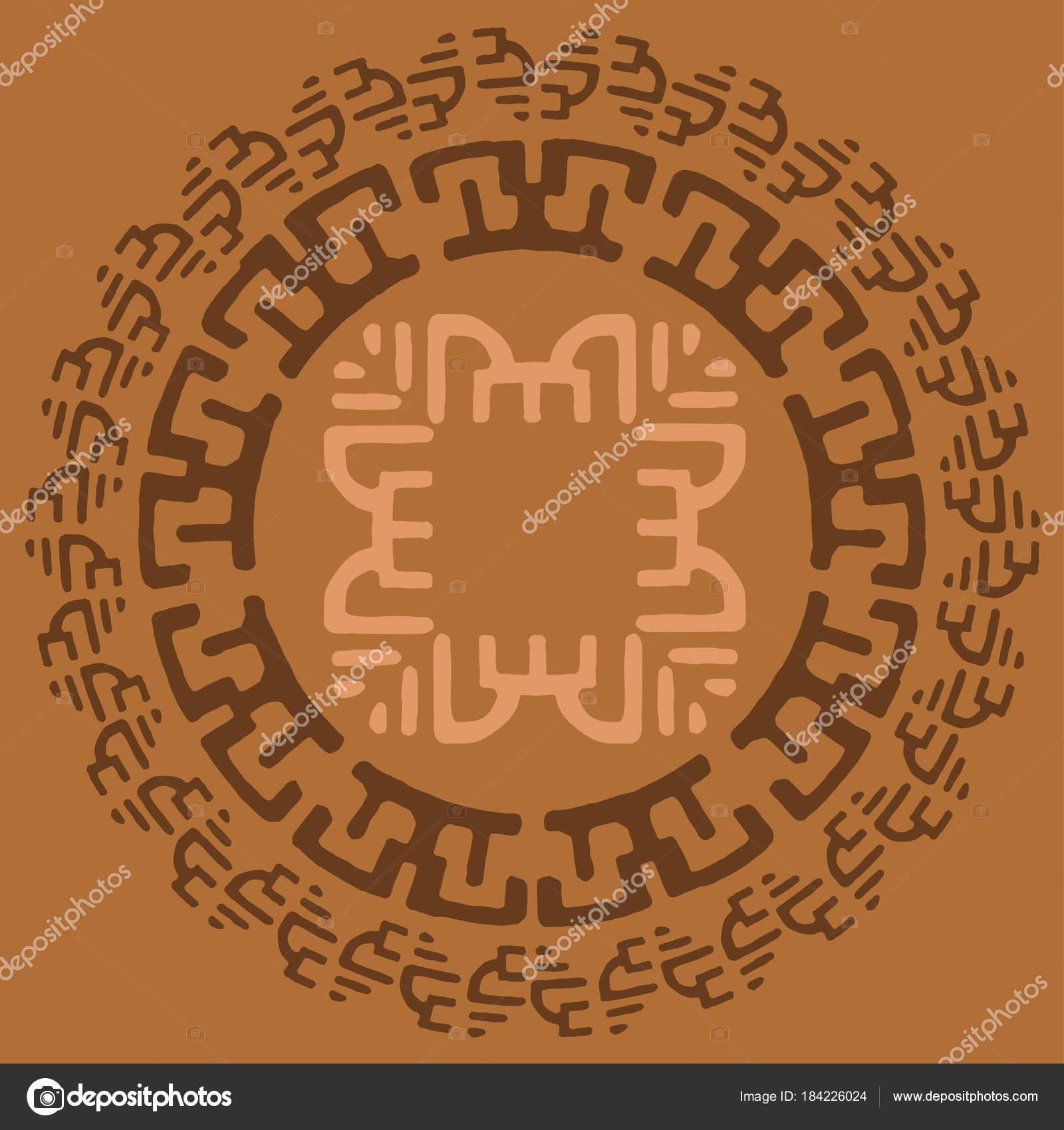 Ethnische Runden Rahmen Logo Vorlage Stammes Hand Gezeichneten Kreis ...