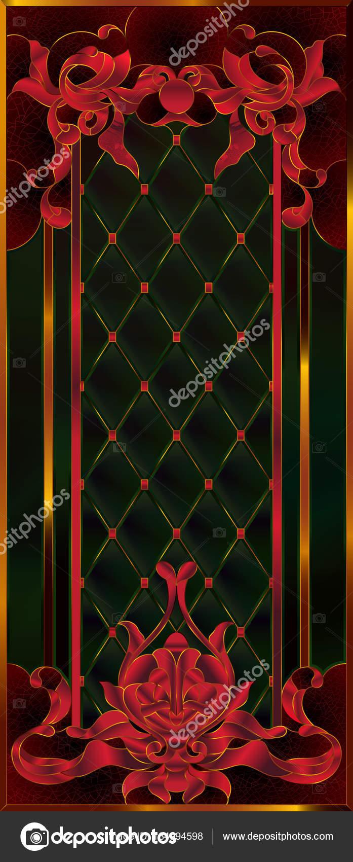 Detallado Colorido Vitral Tiffany Tonos Rojos Sangre Lujoso Marco ...