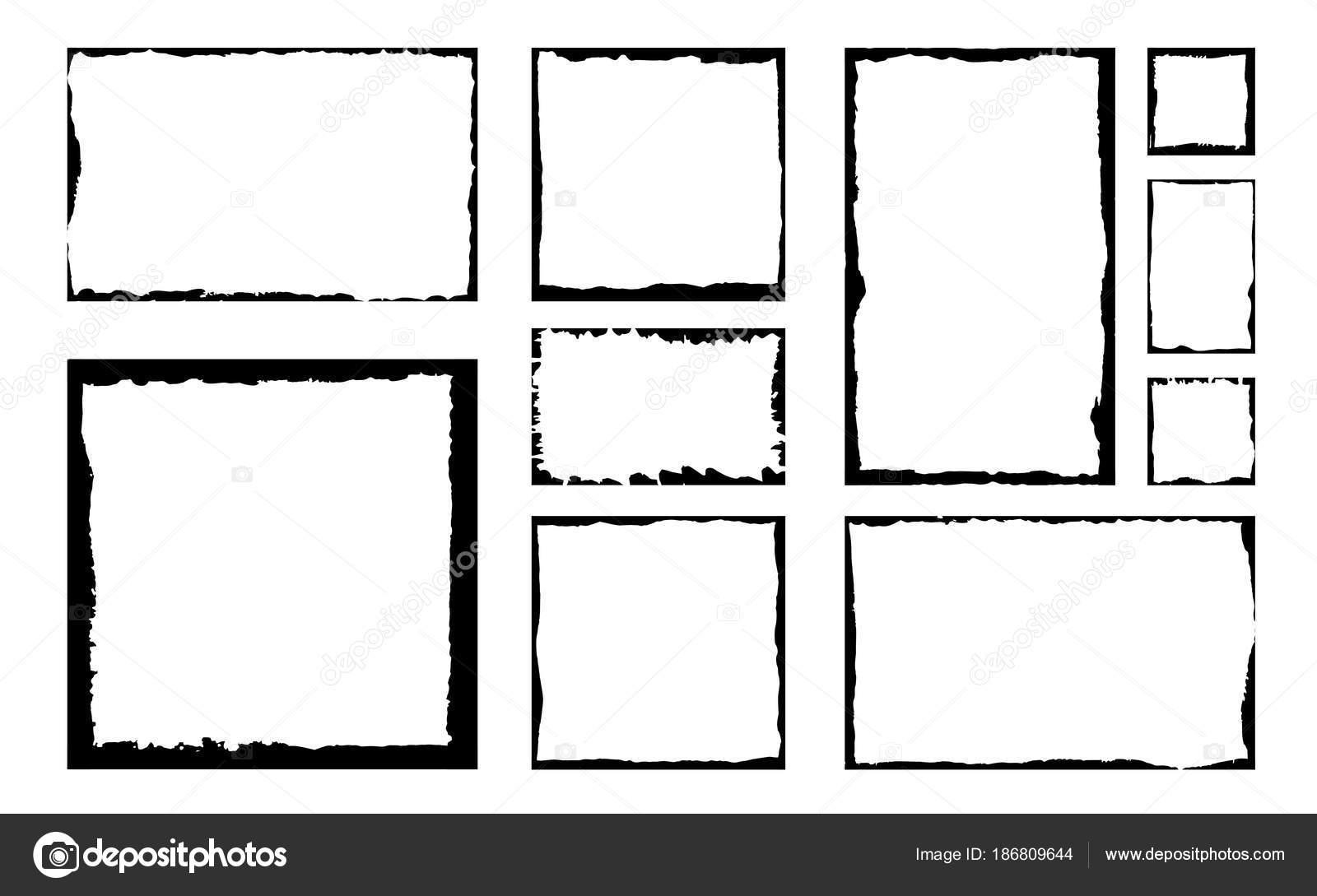 Satz Von Grunge Quadratischen Rahmen Leerer Rand Hintergrund Hand ...
